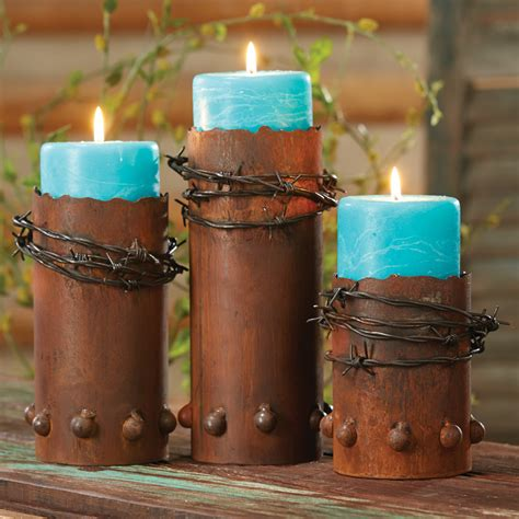 Candle Holders Home Decor Rustic Candle Holders Set Of 3 Barbed Wire Candle Holders