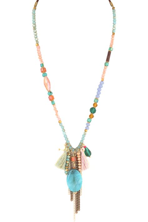 beaded tassel necklace agate beaded tassel necklace necklaces