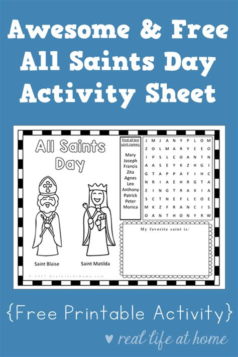 All Saints Day Printable Worksheets