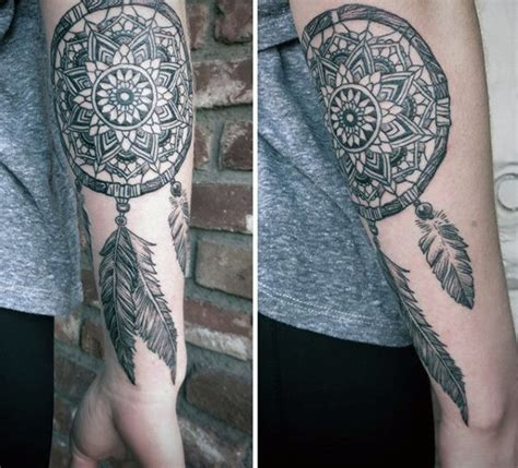 dreamcatcher tattoo inside arm 100 dreamcatcher tattoos for men divine design ideas