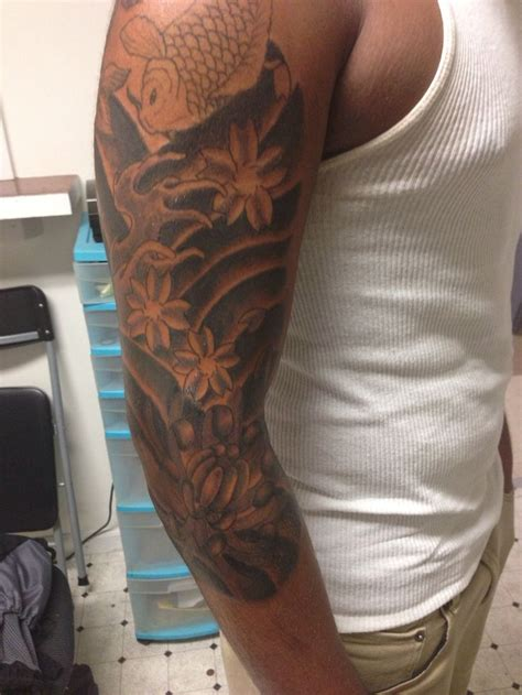 design my own tattoo sleeve my own traditional work japanese 3 4 sleeve koifish
