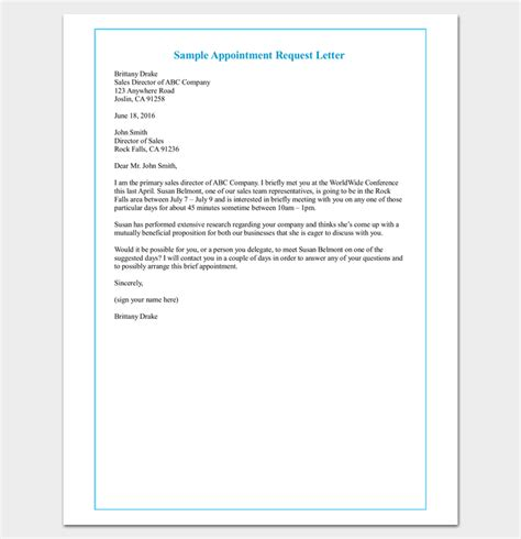 Request Letter Purpose Meeting Appointment Letter 9 Templates For Word Pdf Format