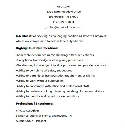 Caregiver Resume Sle by Sle Of Caregiver Resume 28 Images N雉w Caregiver Resume
