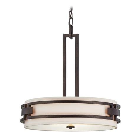 White Drum Pendant Light Drum Pendant Light With White Shades In Flemish Bronze Finish 83831 Fbz Destination Lighting