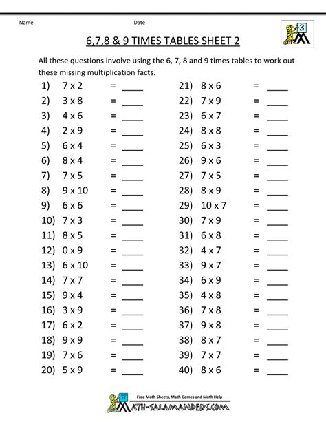 9 Make That by Multiplication Drill Sheets 3rd Grade