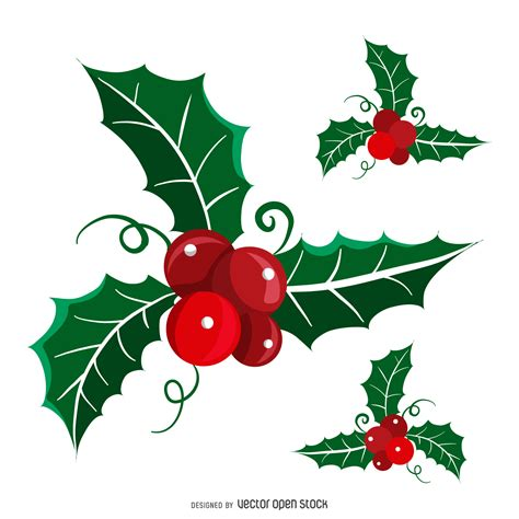 flat isolated christmas mistletoe set free vector