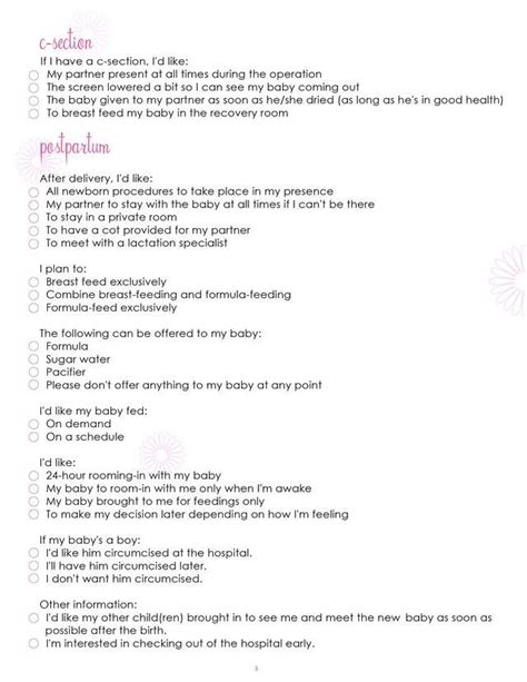 25 best ideas about birth plan printable on