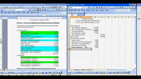 Cost Of Goods Manufactured And Income Statement Sle Mp4 Youtube Manufacturing Cost Accounting Templates Excel