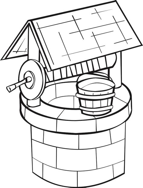 coloring page water well coloring page well img 16189