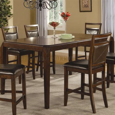medium brown finish modern counter height dining table w