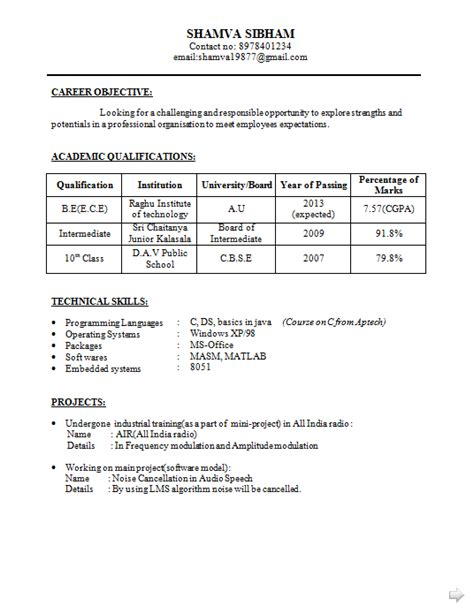 Resume Sles For Ece Engineers Freshers Be Ece Resume For Fresher