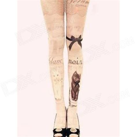 cat tattoos pattern women s velvet stockings tights pink