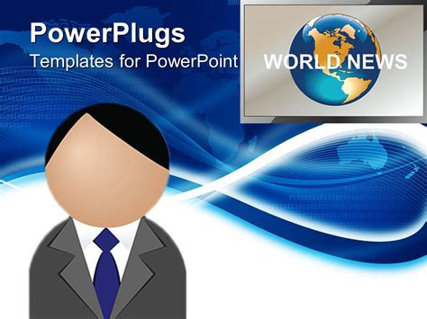 powerpoint template figure head presenting world news