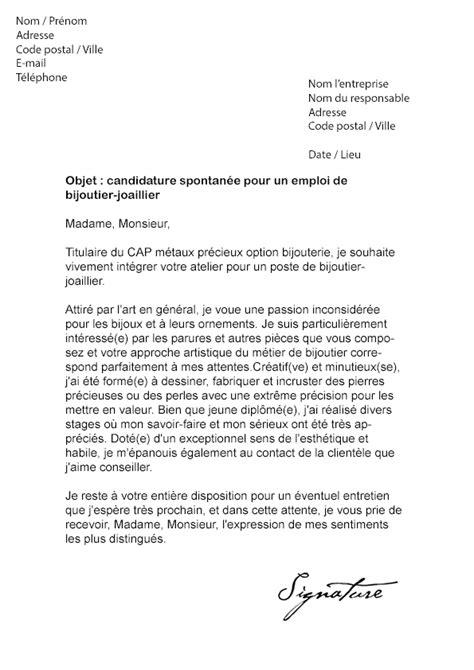 Lettre De Motivation Vendeuse Bijoux Lettre De Motivation Bijoutier Joaillier Mod 232 Le De Lettre