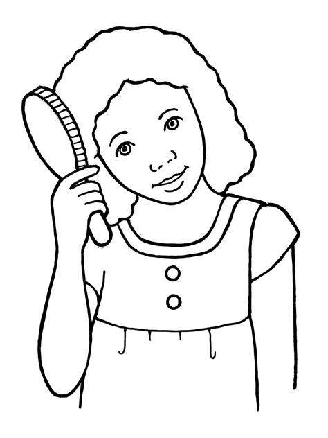 coloring pages of combing hair girl brushing hair