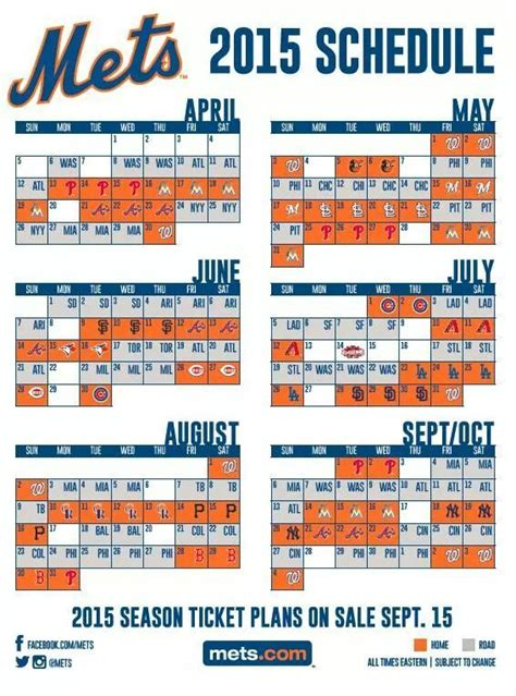 printable mets schedule 2015 mets schedule new york mets 2015 season pinterest