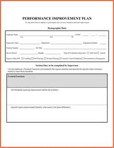 Performance Plan Template by Performance Improvement Plan Exles Bio Exle