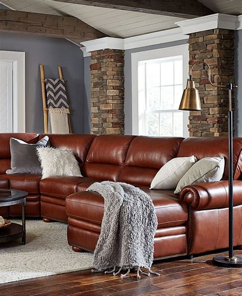macys living room furniture royce leather sectional sofa living room furniture