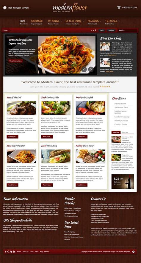 modern flavor responsive joomla template for restaurant