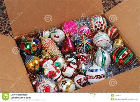 christmas ornaments in cardboard box stock image image