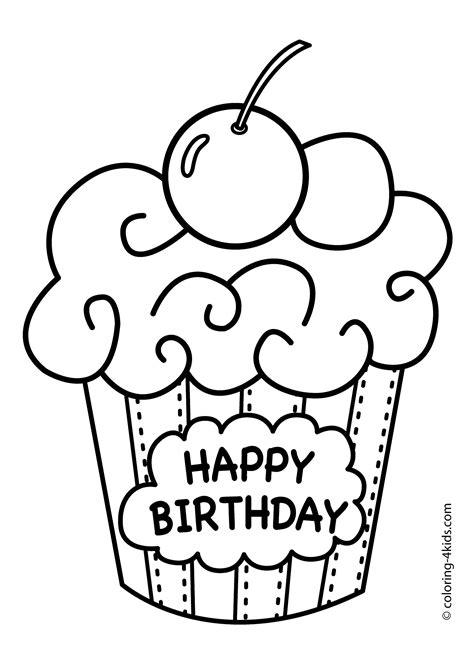 coloring pages of happy birthday cards cake happy birthday party coloring pages muffin coloring