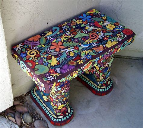 Handmade Mosaic - handmade tile studio bench covered with handmade tiles