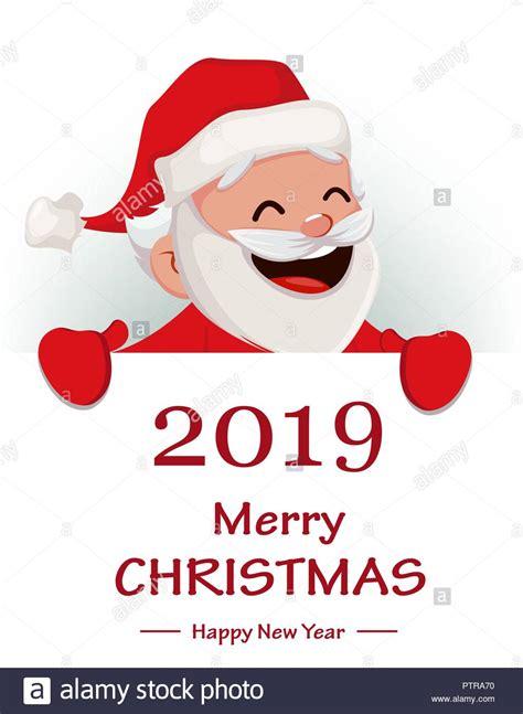 merry christmas funny santa claus cheerful cartoon character holding big placard