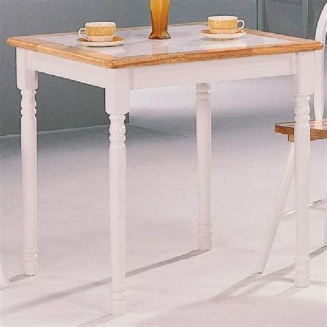 coaster damen square tile top dining table in white and