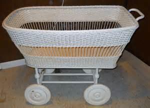 sale antique baby bassinet white wicker basket bed babys