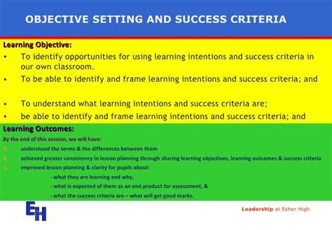 design success criteria objectives and success criteria