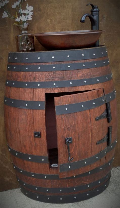 Wine Barrel Vanity With Hammered Copper Sink by Best 20 Wine Barrel Sink Ideas On