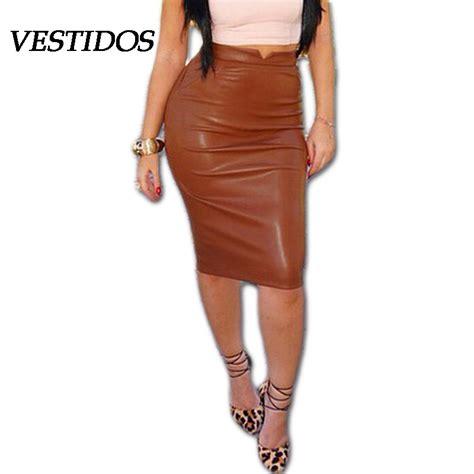 2015 fall pu leather skirts womens bandage bodycon