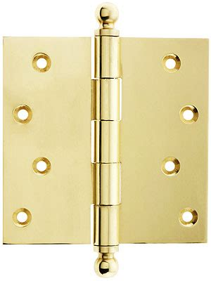 """4"""" Solid Brass Door Hinge With Ball Finials   House of"""