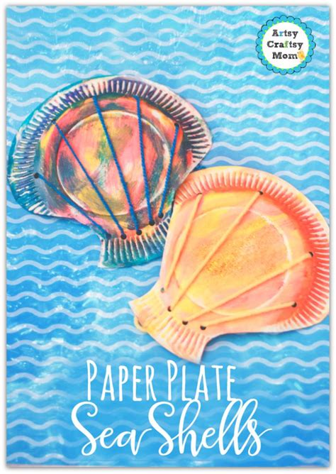arts and crafts using paper plates paper plate seashell craft for toddlers step by step