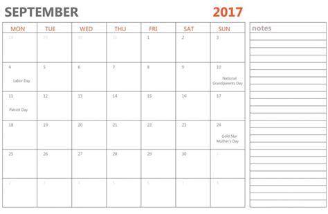 Calendar Template 2017 Fillable September Calendar 2017 Fillable Calendar