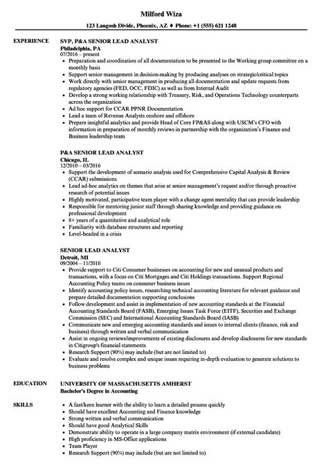 Lead Analyst Sle Resume by Lead Analyst Sle Resume Sle Of Cover Letter For Students Draft Essay Exle