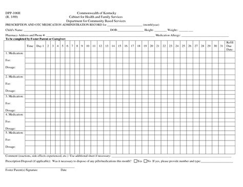 medication administration record template excel medication record