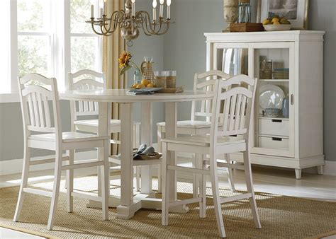 Counter Height Dining Room Set White Summerhill Rubbed Linen White Counter Height Gathering