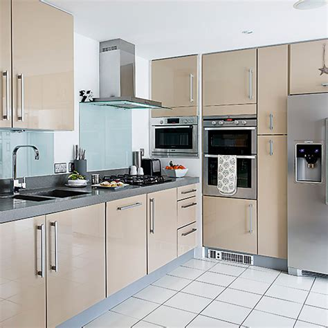 950 best modern kitchens images on contemporary unit pale modern kitchen units with glass splashbacks and white tiled floors ideal home