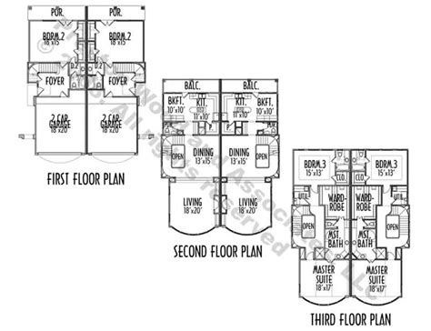 town home plans duplex townhome plan ac7048