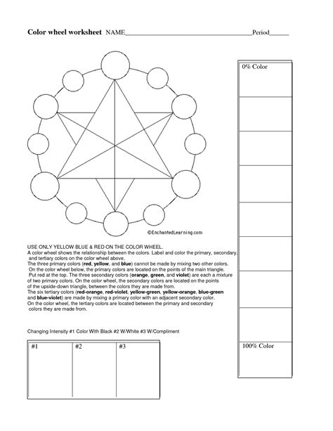 color theory worksheet color theory ws projects color