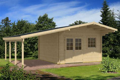carport mit gerätehaus gartenhaus mit carport 710 x 550 cm 40 mm blockbohlen