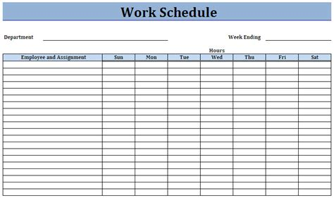 work templates employee work schedule template