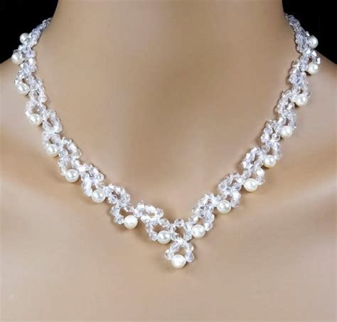 7 Best Necklaces For Your Wedding by Swarovski And Pearl Beadwoven Bridal Jewelry