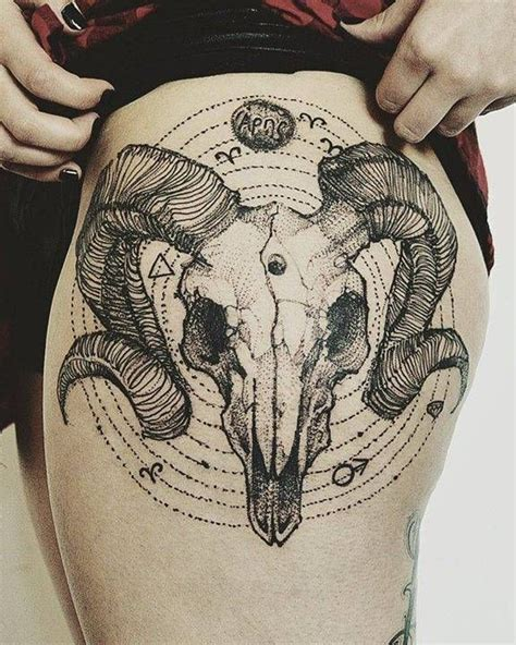 ram skull tattoo meaning calavera de carnero de estilo sketch en el muslo izquierdo