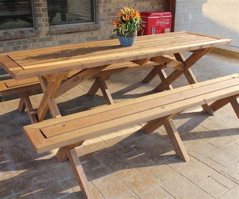 sleek picnic table  detached benches