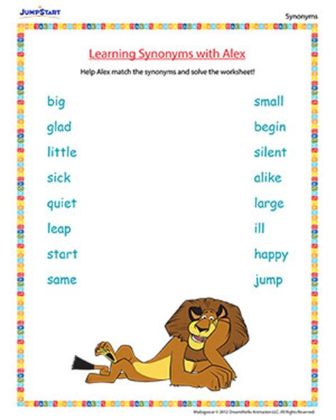 learning pattern synonym english worksheets 187 learning english worksheets