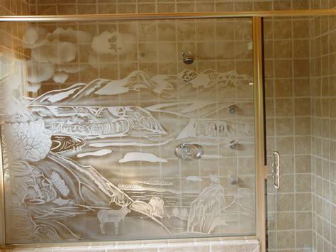 shower doors with design on glass custom shower doors etched and painted