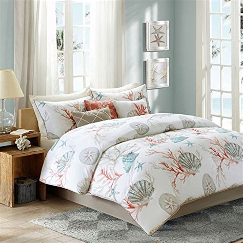 beachy bedding coral seashells starfish beach cal king comforter set