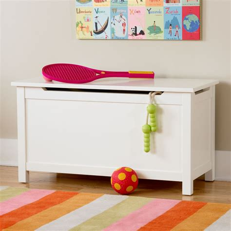 kids toy chests kids solid white toy box  land  nod